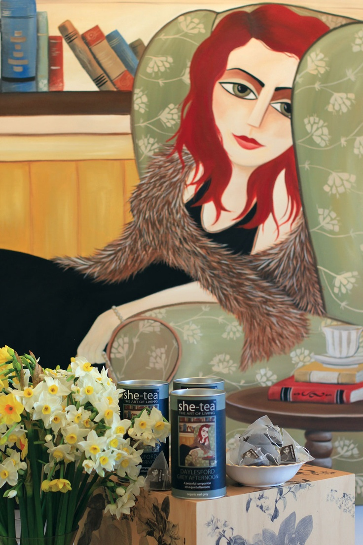 "This painting is called ""Mostly I Prefer the Company of Books"". It is probably my second most important painting as signifies a big step in my painting style and a leap into detail and surrounds where I used to just have blank canvas backgrounds. I have kept this piece also.  The tea we created to match was the ""Daylesford Grey Afternoon"" (Earl Grey)"