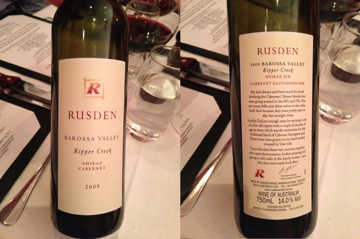 Rusden - Shiraz Cabernet. Ripper Creek, Barossa Valley, Australia 2009 (8 Dec 2012 w Simon, Maggie & Nick at Charcoal Grill on the Hill, Kew)