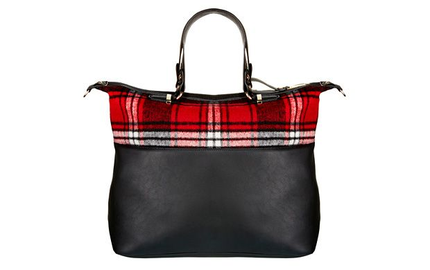 "Check Bowling Bag. ""Large enough for everything you need and with a practical zip, this contrast check handbag is a practical choice that's right on-trend."""