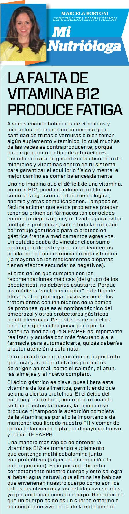 Periódico EL Horizonte La falta de vitamina B12 produce fatiga.