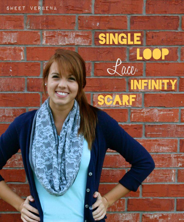 Sweet Verbena: Single Loop Lace Infinity Scarf Tutorial: Sweet Verbena, Loops Lace, Diy Infinity, Single Loops, Lace Infinity, Scarves, Infinity Scarf Tutorial, Infinity Scarfs Tutorials, Lace Scarfs