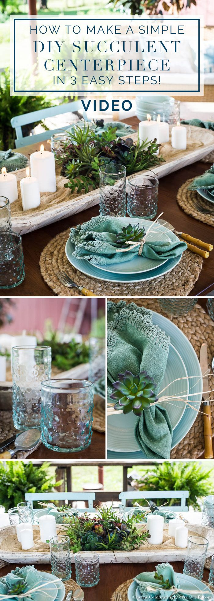 How To Make A Simple DIY Succulent Centerpiece In 3 Easy Steps video tutorial. I'll show you how to make a magazine worthy Succulent centerpiece that looks gorgeous but is super easy! It's an easy summer entertaining idea at its best! via @jencarrollva