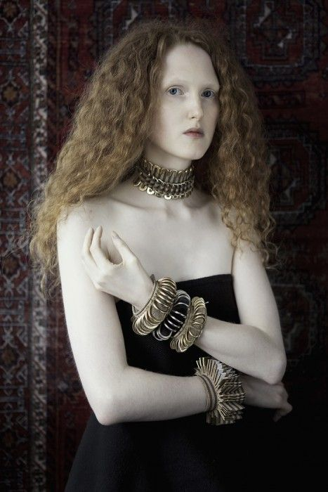 Michelle Lowe-Holder   Cork and brass choker with cork and brass cuffs  Textile - Art jewelry Handcrafted