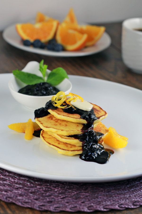 Citrus Ricotta Pancakes with Blueberry Compote Visit us: http://www ...