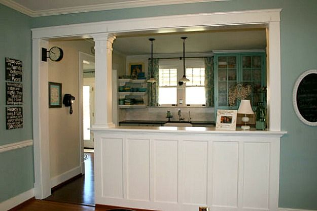 Love this idea for the houses we are looking at with big openings out of the kitchen..I really don't like those