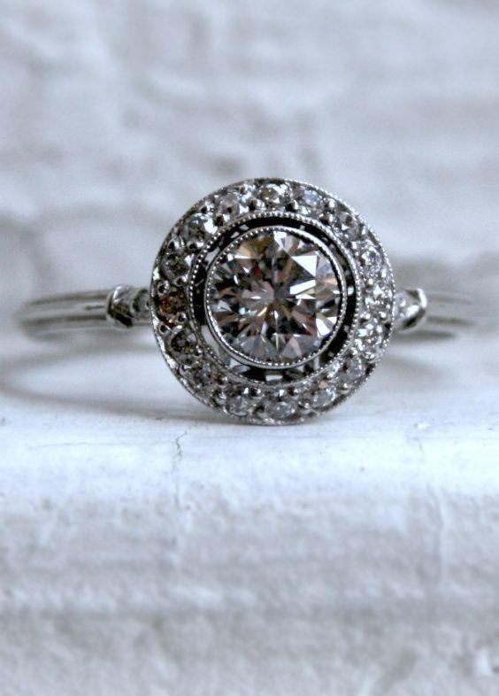 Vintage halo diamond ring