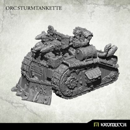 This multi part set contains one Orc Sturmtankette resin model armed with rocket launcher or twin HMG or heavy flamer.  This model is made to be compatible with 28mm heroic scale miniatures - it has about 10,3cm in lenght with dozer blade and 8cm without it, 6,5cm wide and 5,5cm height.