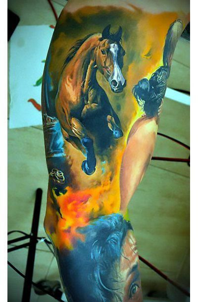 Amazing sleeve with horse in fire. Style: Realistic. Color: Colorful. Tags: Amazing, Beautiful