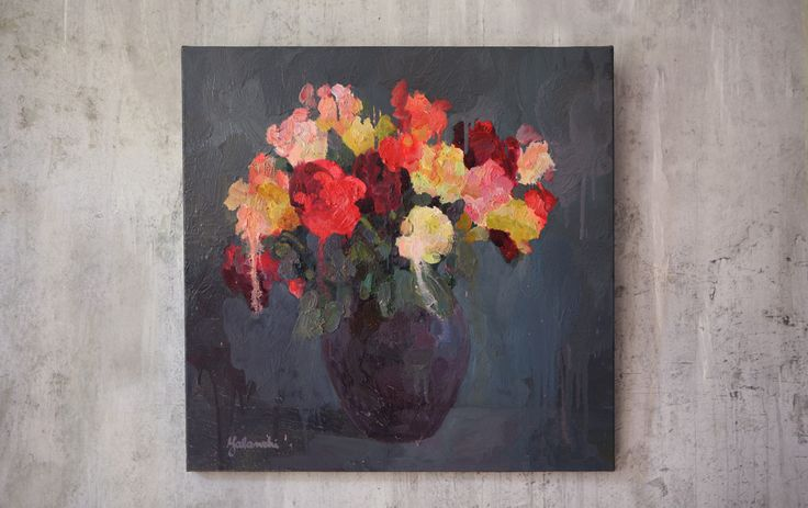 Roses 60-60cm, canvas, oil, painting, 2016 Yalanzhi Julia