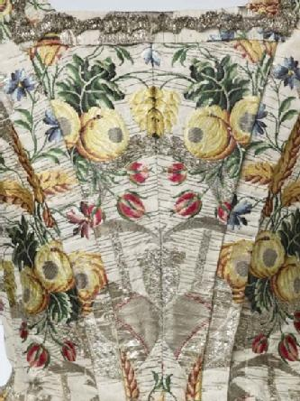 Detail of Mantua belonging to Ann Fanshawe, daughter of Crisp Gascoyne who became Lord Mayor of the City of London in November 1753.