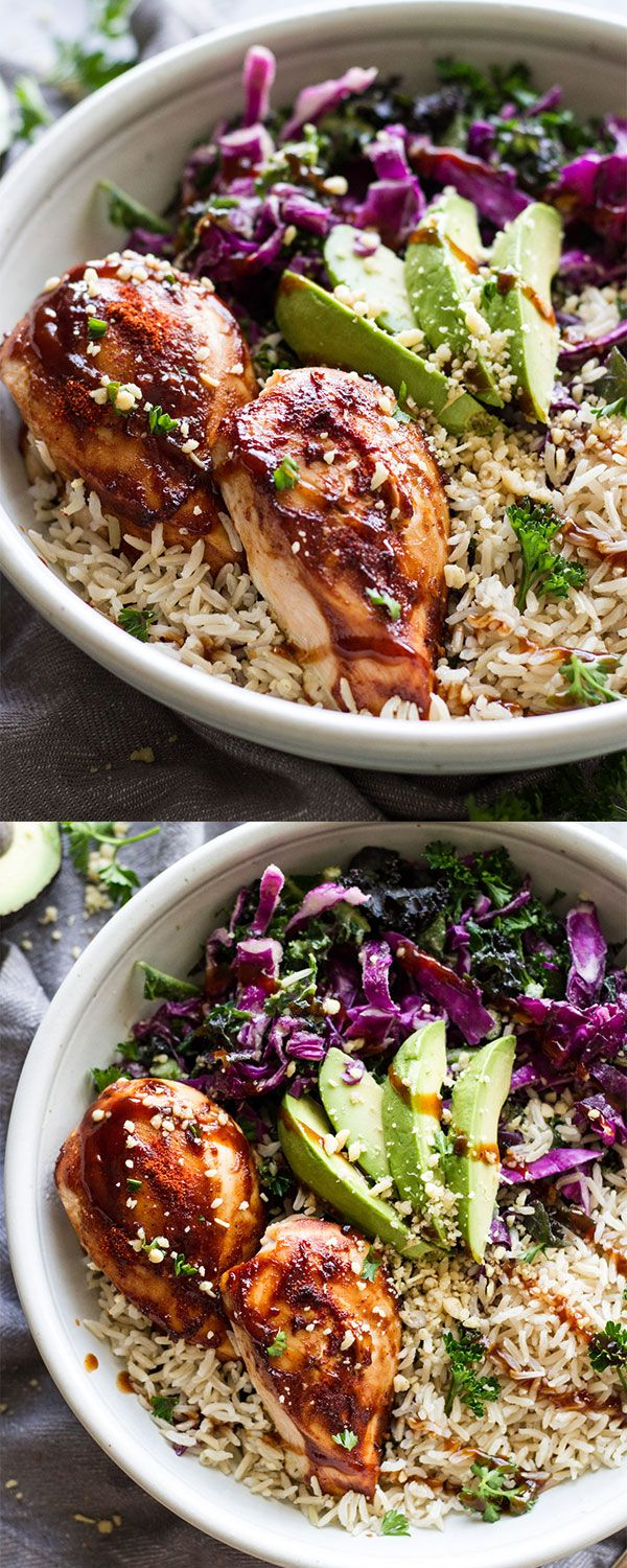 BBQ Chicken Power Bowls! Healthy, gluten-free, savory, and only take 30 minutes to make. Great for meal-prep!