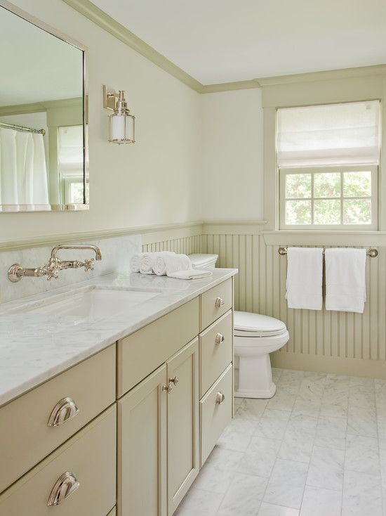 Exciting Modern Bathroom Design With Cream Beadboard In