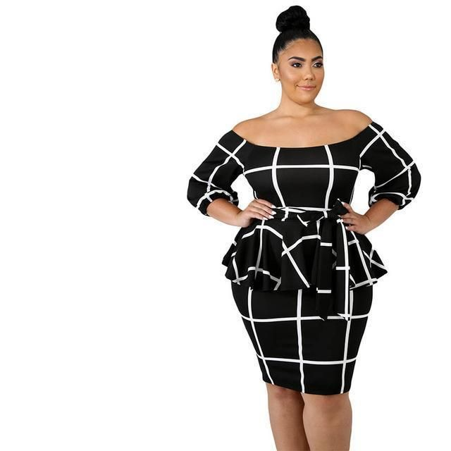 Plus Size Plaid Bodycon Dress in 2019 | Plus Size Dresses | Dresses ...