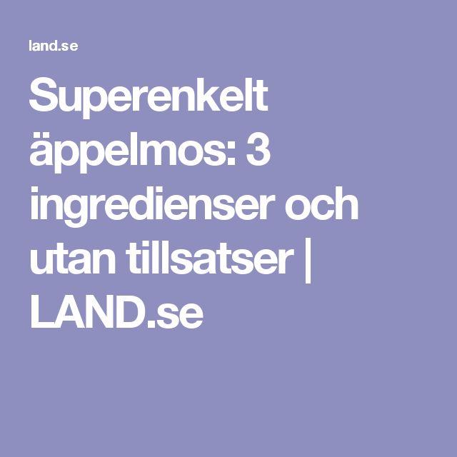 Superenkelt äppelmos: 3 ingredienser och utan tillsatser | LAND.se