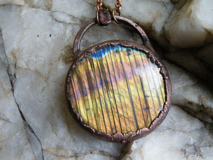 Labradorite pendant / goddess pendant / crystal pendant / boho jewelry / electroformed pendant / fairy pendant / tourmaline pendant by CrystalGridDesign on Etsy
