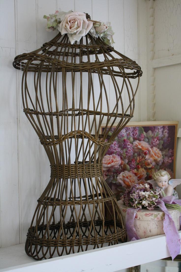 Antique wicker dressform