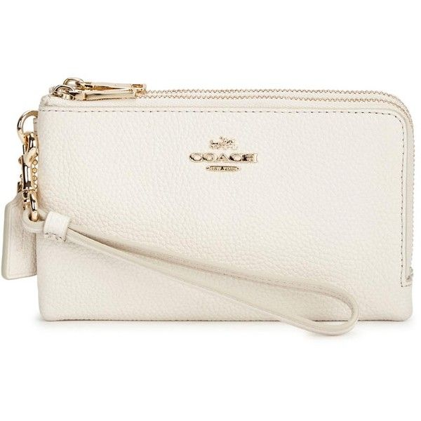 Coach Ivory grained leather wallet ($93) ❤ liked on Polyvore featuring bags, wallets, zipper bag, zip bag, full grain leather bag, white wallet and white bag
