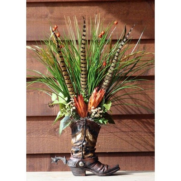 HANDMADE WESTERN FLORAL FLOWER ARRANGEMENT COWBOY BOOT HOME DECOR ❤ liked on Polyvore featuring home, home decor, handmade home decor, western home decor, handcrafted home decor and floral home decor