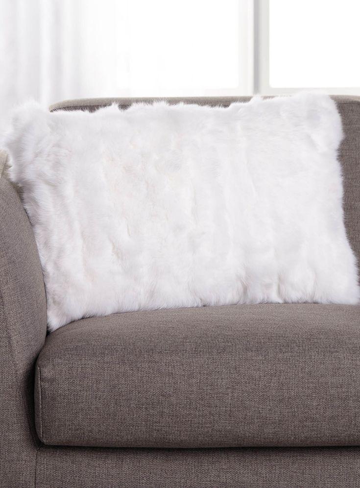 White rabbit fur cushion 40 x 60cm | Simons Maison | Shop Faux-Fur Cushions Online in Canada | Simons