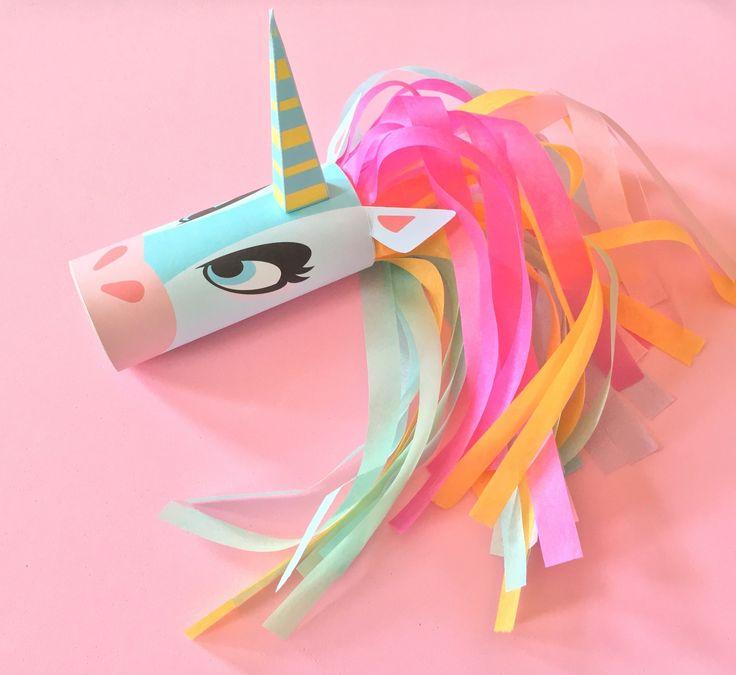 Dit gaat hier ene meisje heel leuk vinden! | Unicorn Head Toilet Tube Craft Printable via Cut Out & Keep