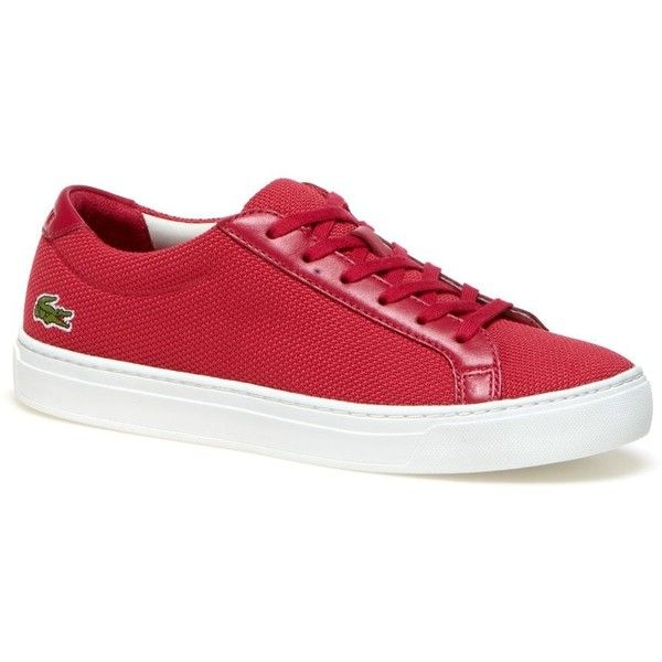 Pink Women's L.12.12 Leather Accent Piqué Canvas Sneakers (125 CAD) ❤ liked on Polyvore featuring shoes, sneakers, pink trainers, pink sneakers, lacoste trainers, canvas trainers and lacoste sneakers