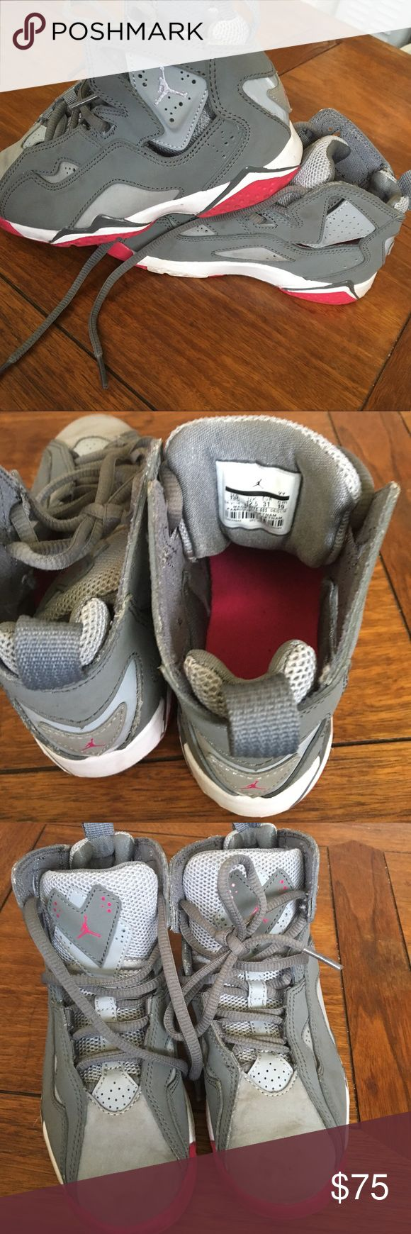 Kid Jordan Sneakers Gray great condition SZ 13❤️❤️ This is a kids unisex Jordan sneakers in great condition SZ 13 there is some soiled area on the front but it should be a easy clean with some warm soapy water. Will accept a reasonable offer Jordan Shoes Sneakers