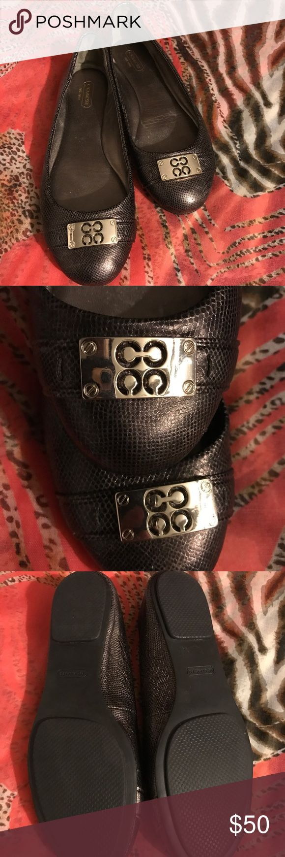 Coach Flats Beautiful metallic/bronze authentic coach flat! New condition,  worn once no scratches on gold hardware nice and comfortable shoe Coach Shoes Flats & Loafers
