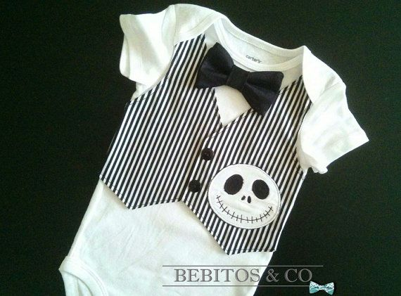Baby Boy Vest Bodysuit, Jack Skellington Baby, Baby Boy Onesie, 1st Birthday outfit, Boy Cake Smash Outfit, Nightmare Before Christmas Baby