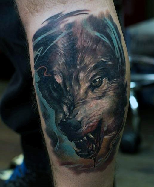 Wolf Leg Sleeve Tattoos