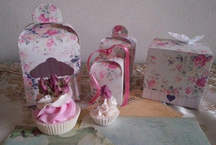 bomboniere cup cake di sapone con scatole