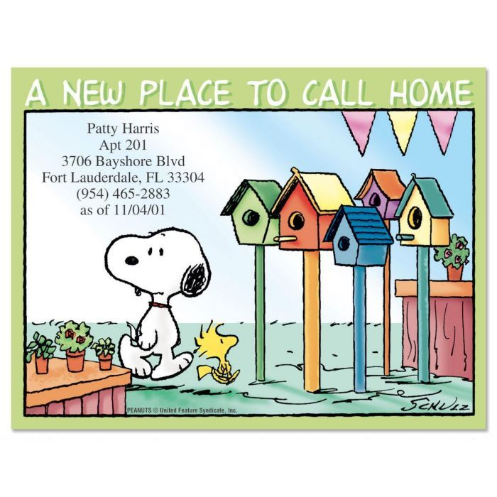 Peanuts House Hunting New Address Postcards Current Catalog House Hunting Postcard Change Of Address Cards