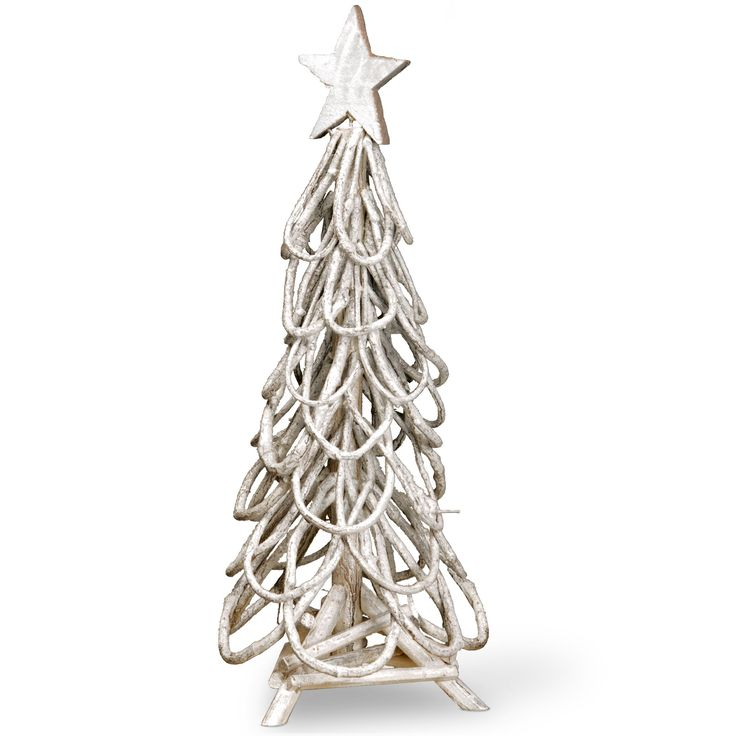 Natural Wood And Twig Branches 24 Inches Christmas Tree Decoration (White)