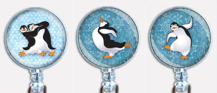 Christmas Holidays Dancing Penguins Badge Reel Retractable ID Name Card Holder