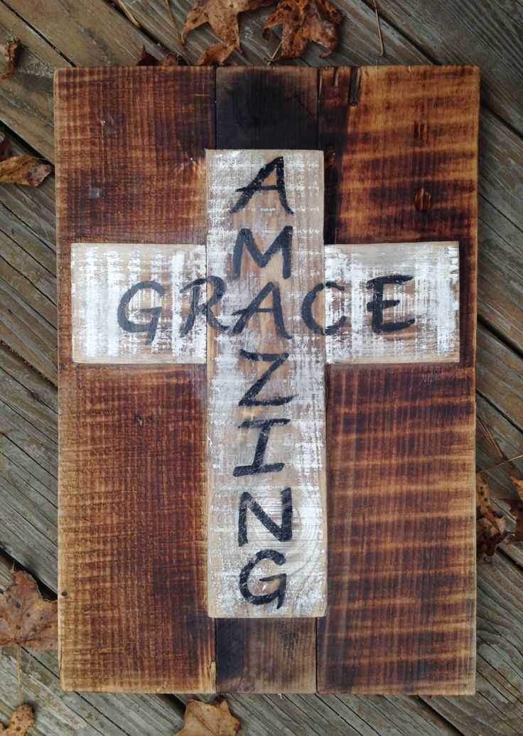 """Rustic, Distressed Reclaimed Wood Sign with """"Amazing Grace"""" Cross by MyBelovedReclaimed on Etsy https://www.etsy.com/listing/222674367/rustic-distressed-reclaimed-wood-sign"""