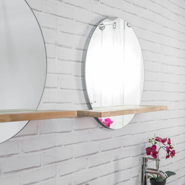 miroir bologne avec tablette en teck massif - Tablette Retro Salle De Bain