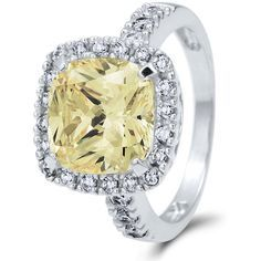 BERRICLE Sterling Silver Cushion Canary Yellow CZ Halo Engagement... (100 CAD) ❤ liked on Polyvore featuring jewelry, rings, anniversary rings, cushion cut cubic zirconia ring, cushion cut engagement rings, sterling silver cz rings and cushion cut ring