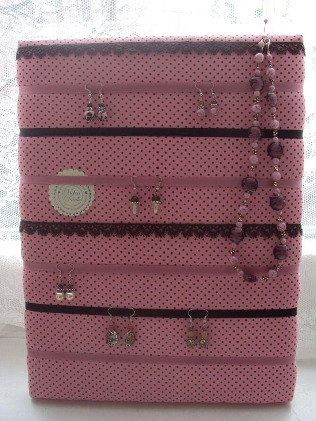 Schmuckständer & -halter - ROSA PUNKTE SCHMUCKSTÄNDER MEMOBOARD PINNWAND - ein Designerstück von pasternak-schmuck bei DaWanda