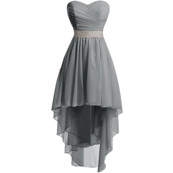 Chengzhong Sun Women High Low Lace Up Prom Party Homecoming Dresses ($39) ❤ liked on Polyvore featuring dresses, grey, hi low dress, grey cocktail dress, grey prom dresses, gray cocktail dress and lace up prom dresses