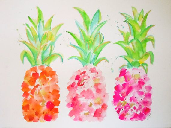 Original Art Watercolor Painting Pineapples - Tropical Gold & Pink - Wall Art, Wall Decor, Fine Art