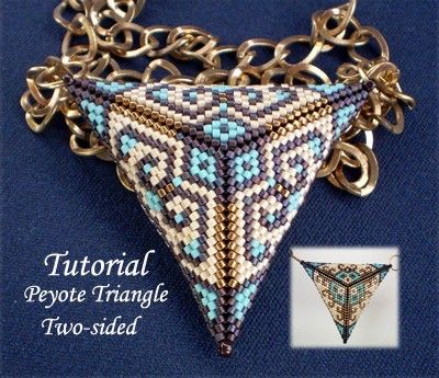 TUTORIAL Peyote Triangle two sided - Bead pattern by Ellad2 on Etsy https://www.etsy.com/listing/61184749/tutorial-peyote-triangle-two-sided-bead
