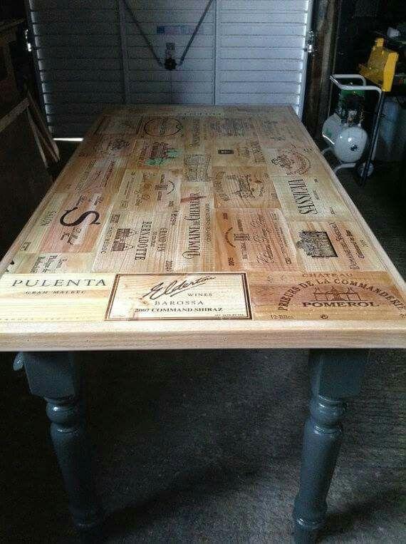Table basse caisse de vin