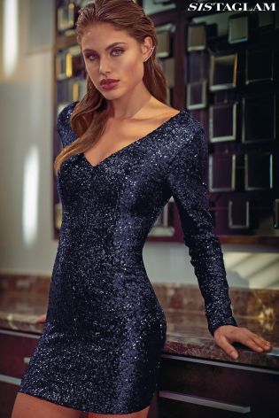 Buy Sistaglam Long-Sleeve Sequin Bodycon Dress from the Next UK online shop