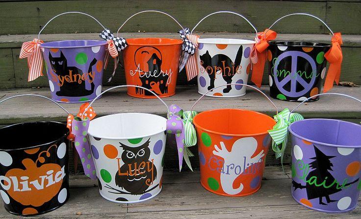 Personalized Halloween buckets-vinyl designs