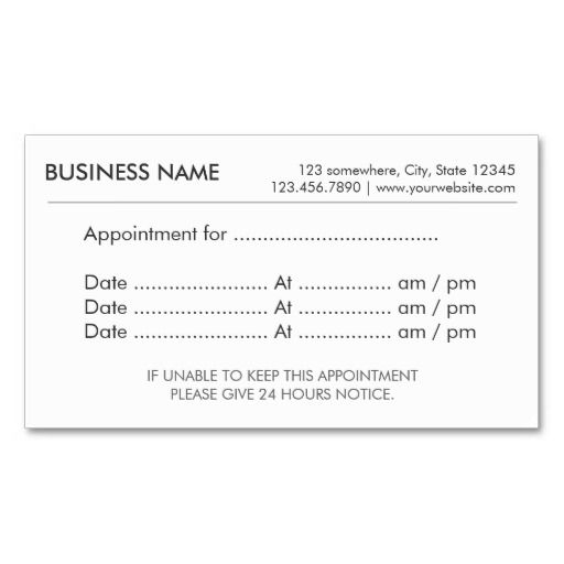 appointment reminder cards template