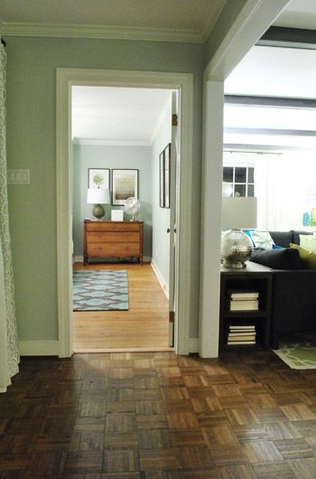 Rearrange bedroom furniture so you can't see the bed from the door.