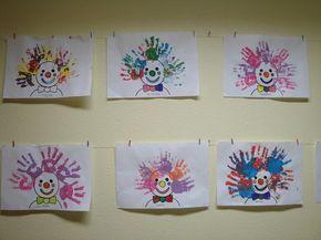 clown - haar stempelen (handafdrukken )