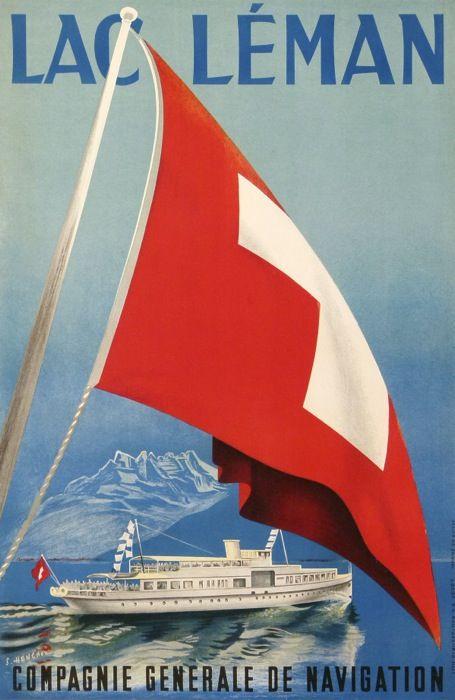 lac leman compagnie generale de navigation : antique vintage posters from HENCHOZ S.