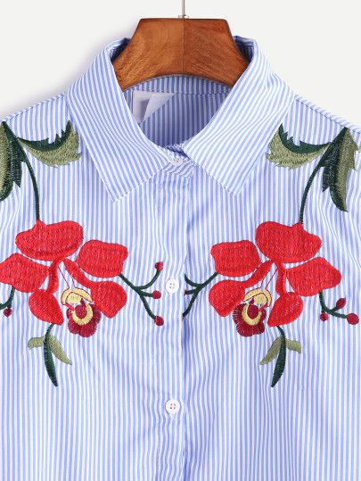 Blue Vertical Striped Flower Embroidered Shirt