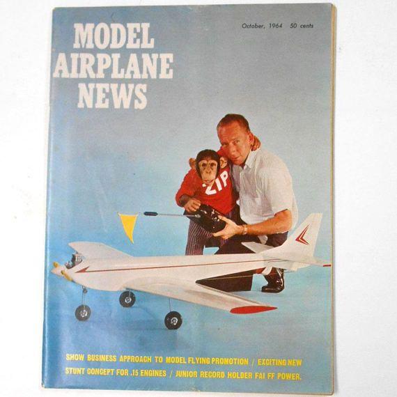 VINTAGE Magazine Model Airplane News October 1964 hobby  #hobby #guide #toy #making #illustrated #etsy