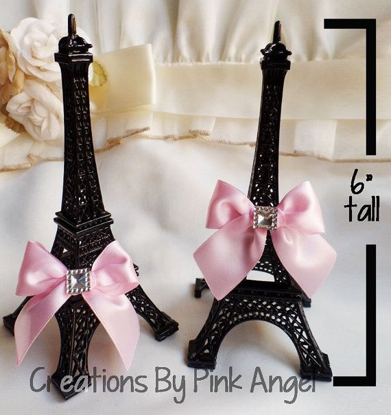 6 Eiffel Tower Cake Topper Gold and Pink by CreationsByPinkAngel